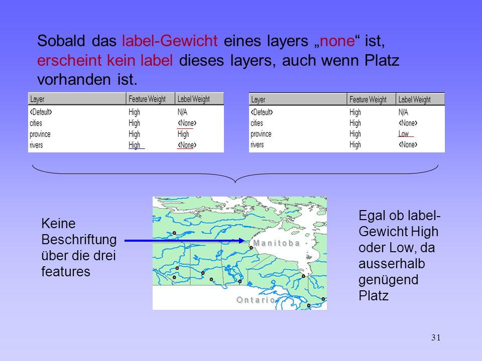 31 Sobald das label-Gewicht eines layers none ist, erscheint kein label dieses layers, auch wenn Platz vorhanden ist.