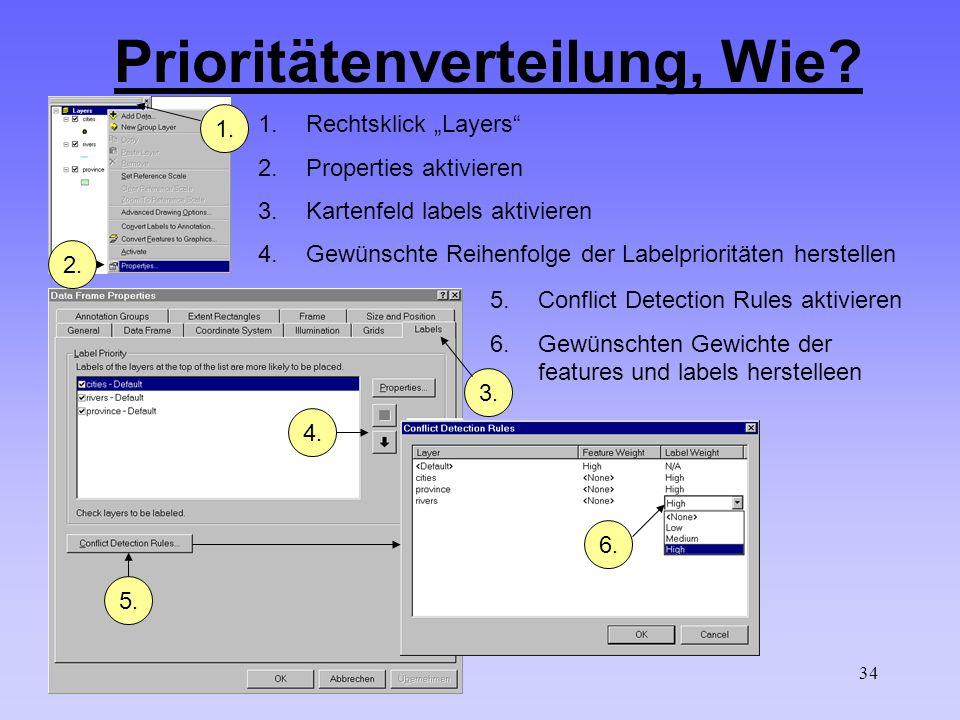 34 Prioritätenverteilung, Wie? 1.Rechtsklick Layers 2.Properties aktivieren 3.Kartenfeld labels aktivieren 4.Gewünschte Reihenfolge der Labelpriorität