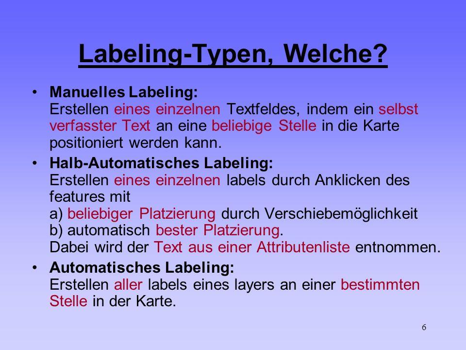 6 Labeling-Typen, Welche? Manuelles Labeling: Erstellen eines einzelnen Textfeldes, indem ein selbst verfasster Text an eine beliebige Stelle in die K