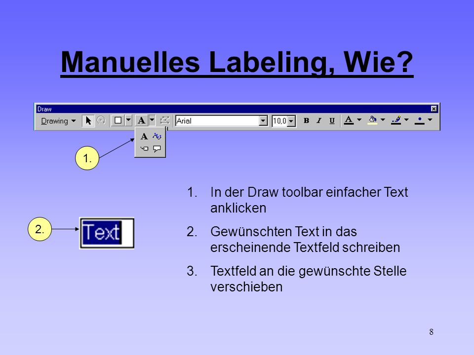 8 Manuelles Labeling, Wie? 1. 1.In der Draw toolbar einfacher Text anklicken 2.Gewünschten Text in das erscheinende Textfeld schreiben 3.Textfeld an d