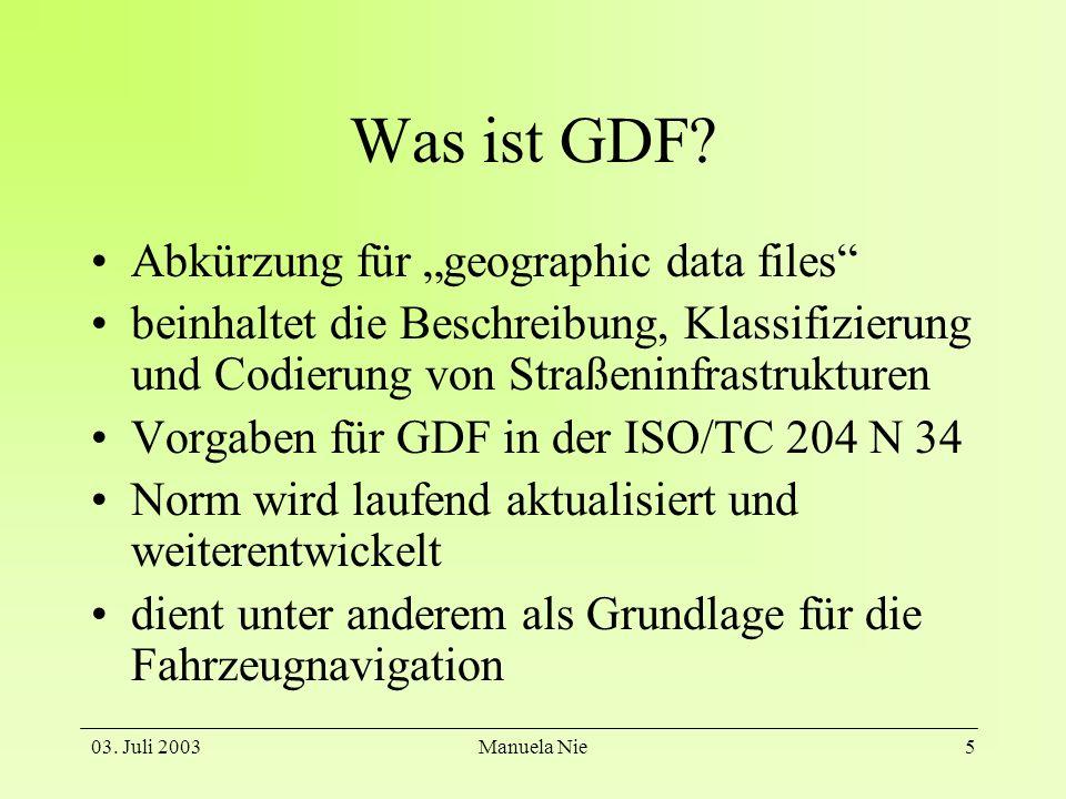 03. Juli 2003Manuela Nie5 Was ist GDF? Abkürzung für geographic data files beinhaltet die Beschreibung, Klassifizierung und Codierung von Straßeninfra