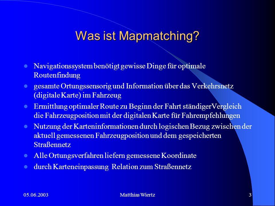 05.06.2003Matthias Wiertz2 Inhaltsübersicht Was ist Mapmatching.