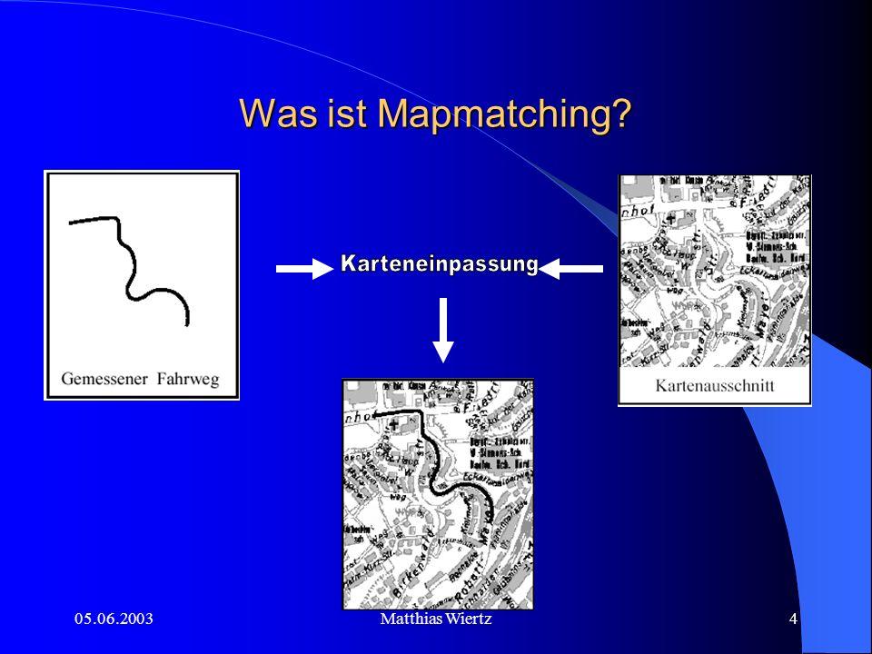 05.06.2003Matthias Wiertz3 Was ist Mapmatching.