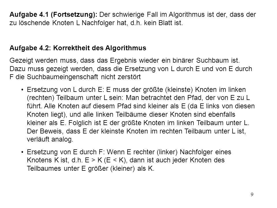 10 D E A B C 30 10 40 Aufgabe 5: Anwendung des Algorithmus von Dijkstra 90 20 40 100
