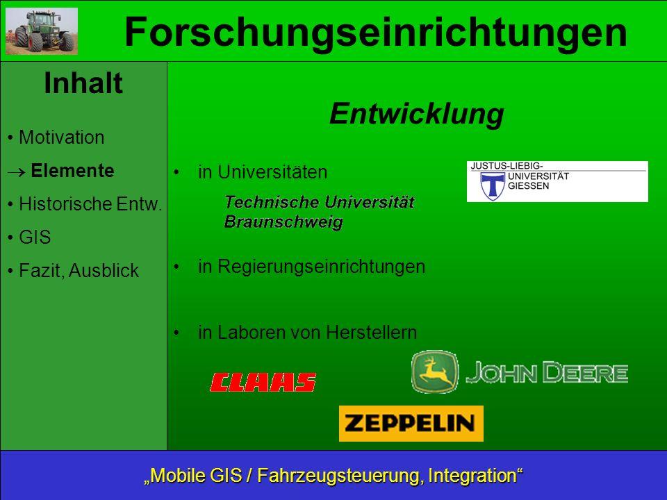 Forschungseinrichtungen Inhalt Motivation Elemente Historische Entw.