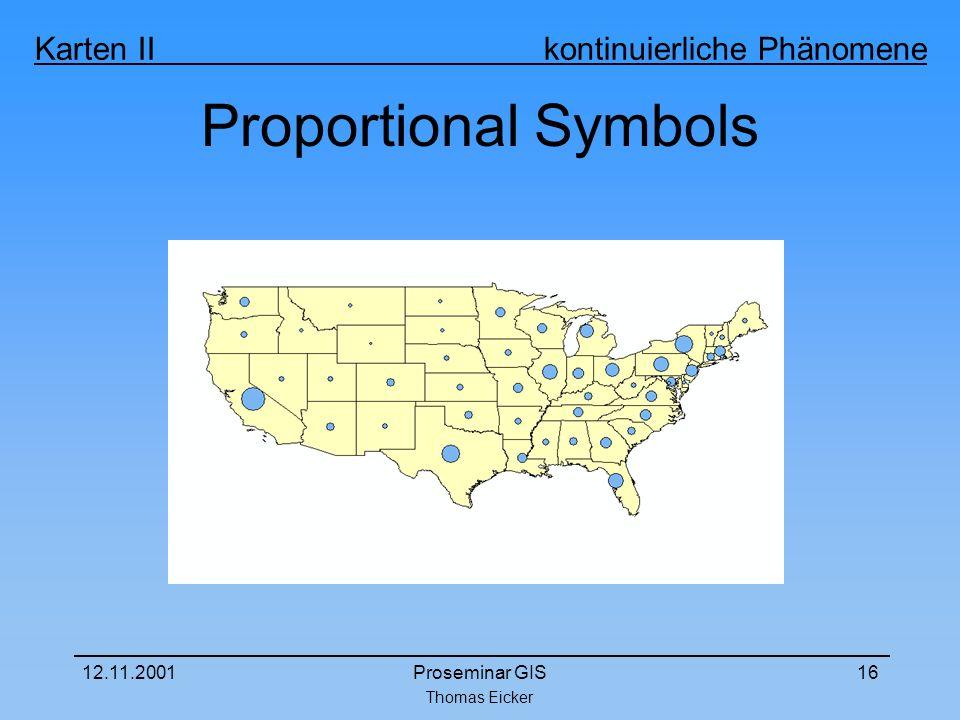 Thomas Eicker Karten II kontinuierliche Phänomene 12.11.2001Proseminar GIS16 Proportional Symbols