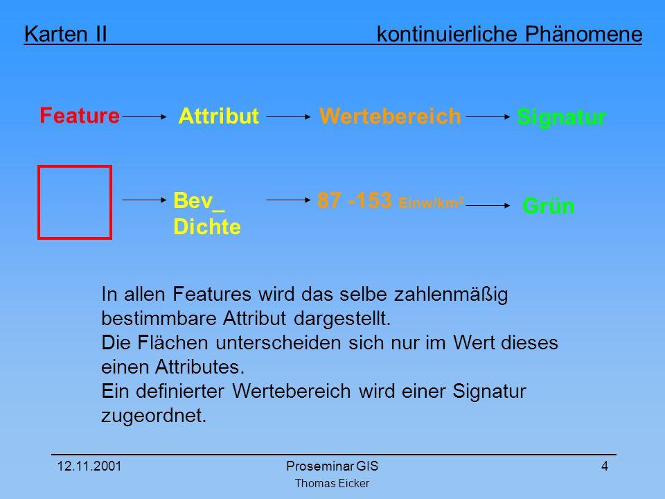Thomas Eicker Karten II kontinuierliche Phänomene 12.11.2001Proseminar GIS4 Feature In allen Features wird das selbe zahlenmäßig bestimmbare Attribut dargestellt.