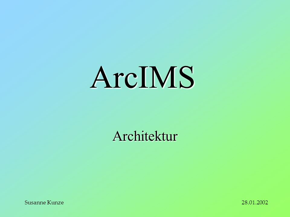 28.01.2002Susanne Kunze ArcIMS Architektur