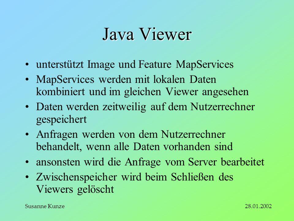 28.01.2002Susanne Kunze Java Viewer unterstützt Image und Feature MapServices MapServices werden mit lokalen Daten kombiniert und im gleichen Viewer angesehen Daten werden zeitweilig auf dem Nutzerrechner gespeichert Anfragen werden von dem Nutzerrechner behandelt, wenn alle Daten vorhanden sind ansonsten wird die Anfrage vom Server bearbeitet Zwischenspeicher wird beim Schließen des Viewers gelöscht