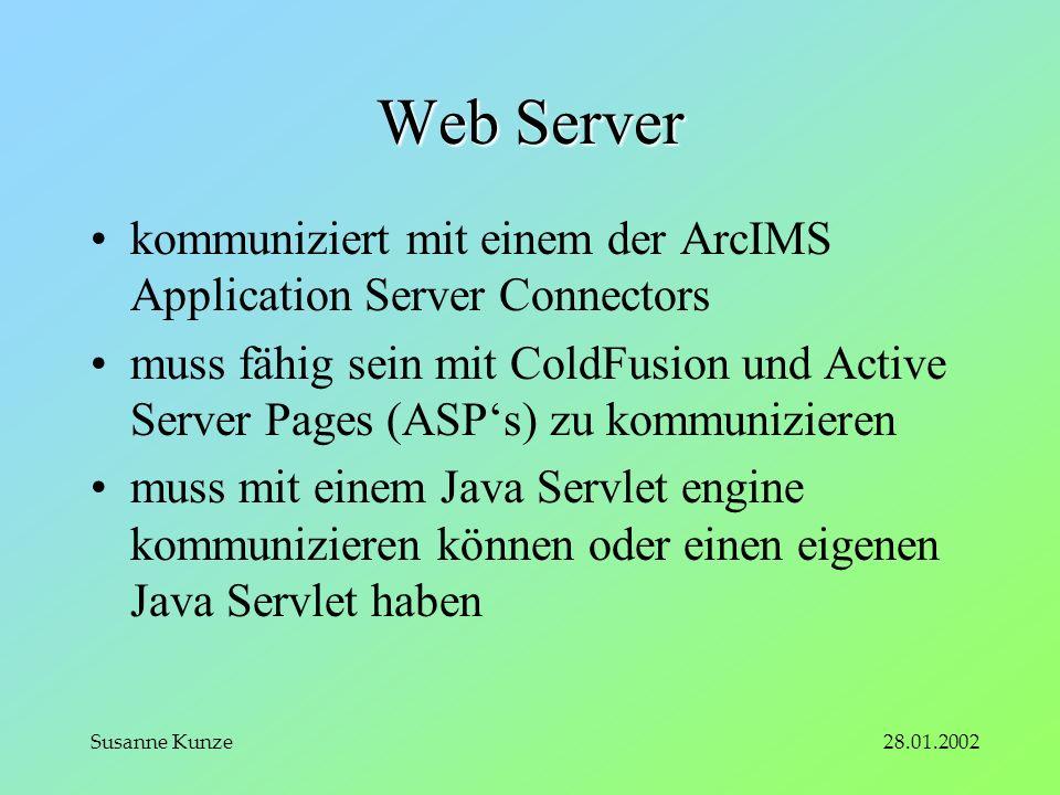 28.01.2002Susanne Kunze Web Server kommuniziert mit einem der ArcIMS Application Server Connectors muss fähig sein mit ColdFusion und Active Server Pages (ASPs) zu kommunizieren muss mit einem Java Servlet engine kommunizieren können oder einen eigenen Java Servlet haben