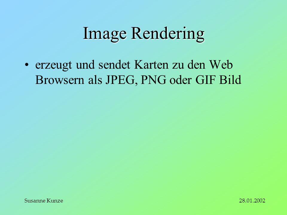 28.01.2002Susanne Kunze Image Rendering erzeugt und sendet Karten zu den Web Browsern als JPEG, PNG oder GIF Bild