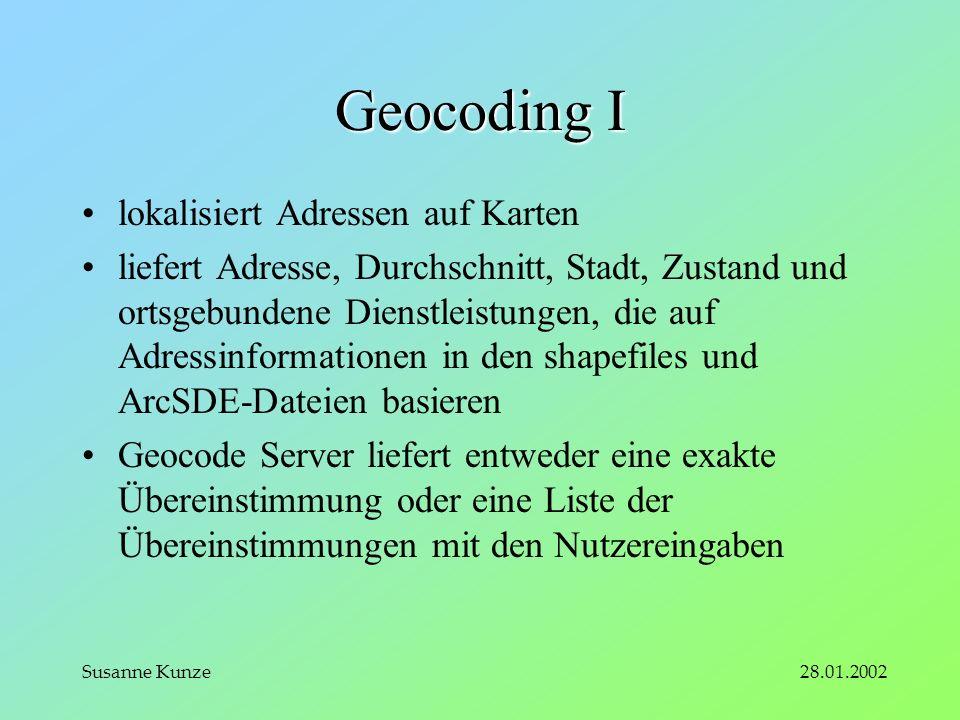 28.01.2002Susanne Kunze Geocoding I lokalisiert Adressen auf Karten liefert Adresse, Durchschnitt, Stadt, Zustand und ortsgebundene Dienstleistungen, die auf Adressinformationen in den shapefiles und ArcSDE-Dateien basieren Geocode Server liefert entweder eine exakte Übereinstimmung oder eine Liste der Übereinstimmungen mit den Nutzereingaben