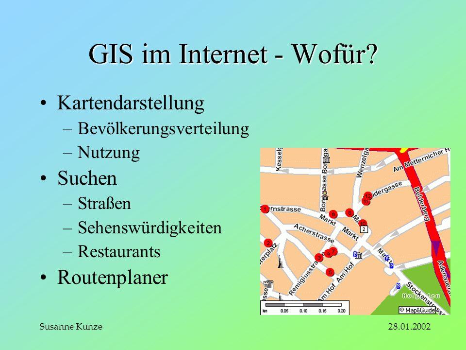 28.01.2002Susanne Kunze GIS im Internet - Wofür.