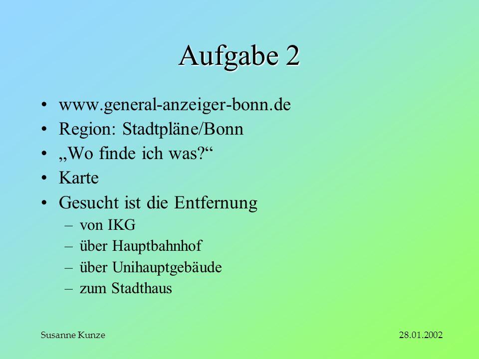 28.01.2002Susanne Kunze Aufgabe 2 www.general-anzeiger-bonn.de Region: Stadtpläne/Bonn Wo finde ich was.