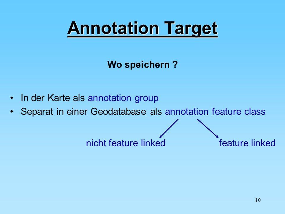 10 Annotation Target In der Karte als annotation group Separat in einer Geodatabase als annotation feature class Wo speichern ? nicht feature linkedfe
