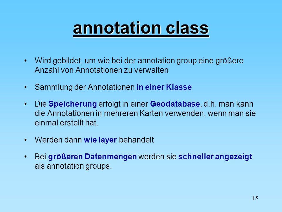 15 annotation class Wird gebildet, um wie bei der annotation group eine größere Anzahl von Annotationen zu verwalten Sammlung der Annotationen in eine
