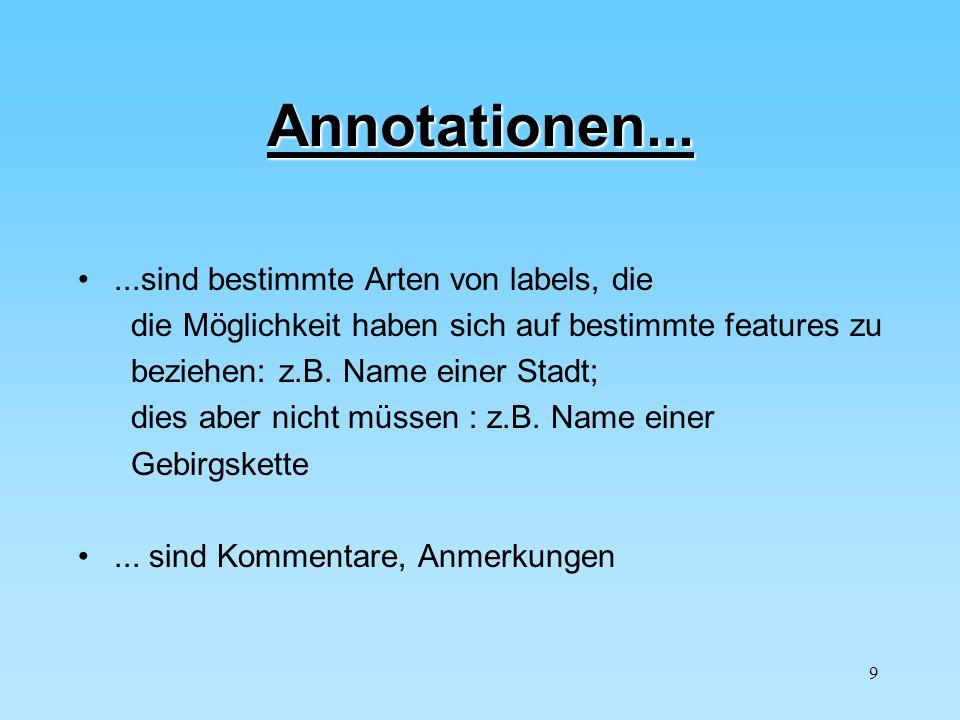 9 Annotationen......sind bestimmte Arten von labels, die die Möglichkeit haben sich auf bestimmte features zu beziehen: z.B. Name einer Stadt; dies ab