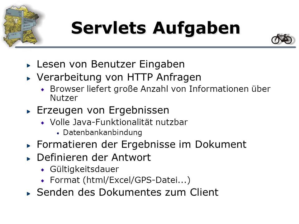 Servlets Aufgaben Lesen von Benutzer Eingaben Verarbeitung von HTTP Anfragen Browser liefert große Anzahl von Informationen über Nutzer Erzeugen von E