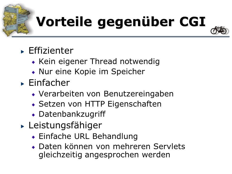 Vorteile gegenüber CGI Effizienter Kein eigener Thread notwendig Nur eine Kopie im Speicher Einfacher Verarbeiten von Benutzereingaben Setzen von HTTP