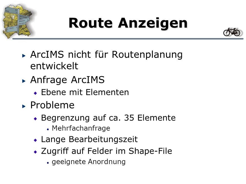 Route Anzeigen ArcIMS nicht für Routenplanung entwickelt Anfrage ArcIMS Ebene mit Elementen Probleme Begrenzung auf ca. 35 Elemente Mehrfachanfrage La