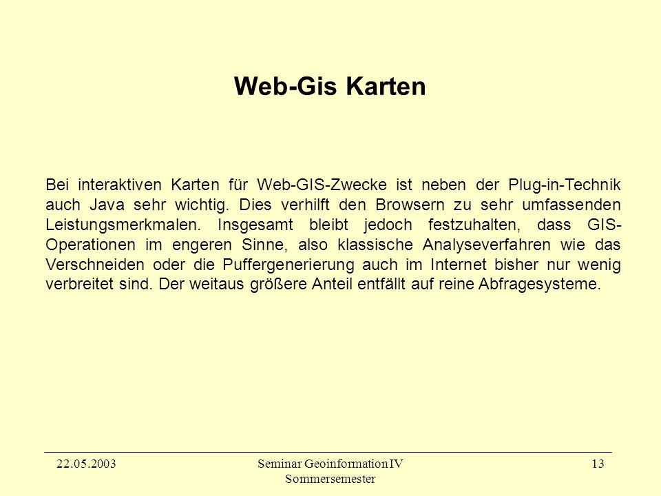 22.05.2003Seminar Geoinformation IV Sommersemester 13 Bei interaktiven Karten für Web-GIS-Zwecke ist neben der Plug-in-Technik auch Java sehr wichtig.