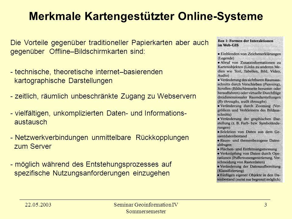 22.05.2003Seminar Geoinformation IV Sommersemester 3 Merkmale Kartengestützter Online-Systeme - möglich während des Entstehungsprozesses auf spezifische Nutzungsanforderungen einzugehen Die Vorteile gegenüber traditioneller Papierkarten aber auch gegenüber Offline–Bildschirmkarten sind: - technische, theoretische internet–basierenden kartographische Darstellungen - zeitlich, räumlich unbeschränkte Zugang zu Webservern - vielfältigen, unkomplizierten Daten- und Informations- austausch - Netzwerkverbindungen unmittelbare Rückkopplungen zum Server