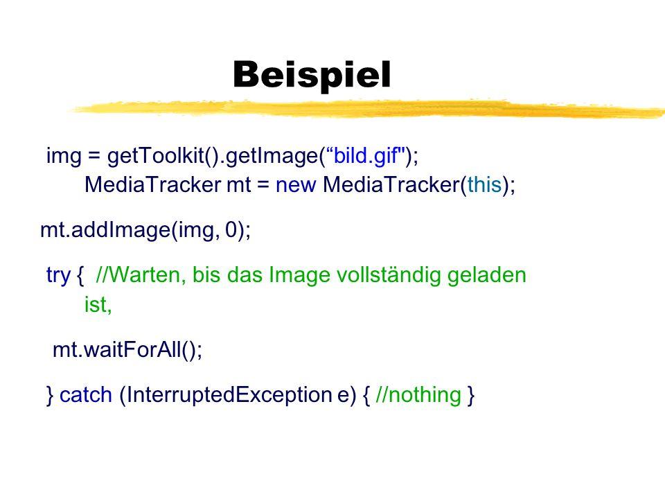 Beispiel img = getToolkit().getImage(bild.gif