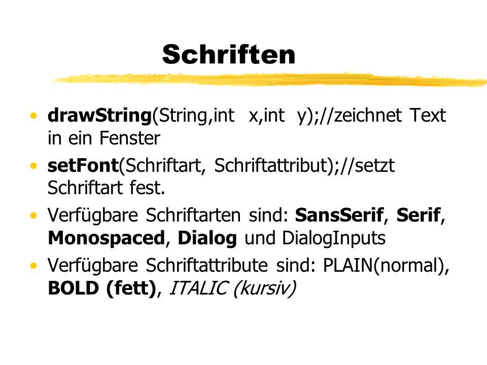 Schriften drawString(String,int x,int y);//zeichnet Text in ein Fenster setFont(Schriftart, Schriftattribut);//setzt Schriftart fest. Verfügbare Schri