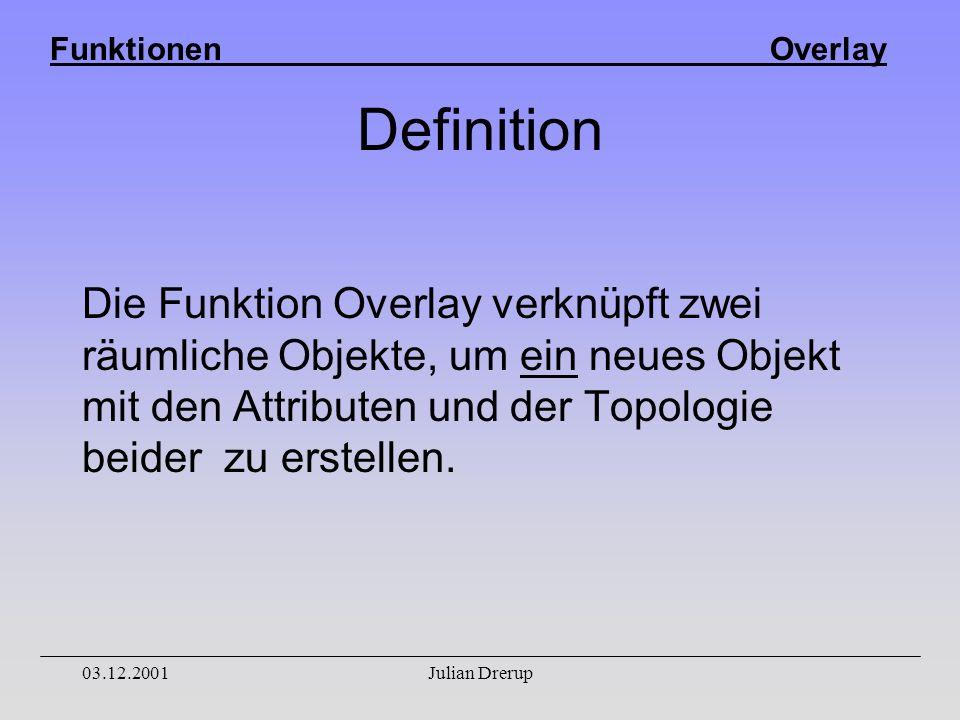 Funktionen Overlay 03.12.2001Julian Drerup Definition Die Funktion Overlay verknüpft zwei räumliche Objekte, um ein neues Objekt mit den Attributen und der Topologie beider zu erstellen.