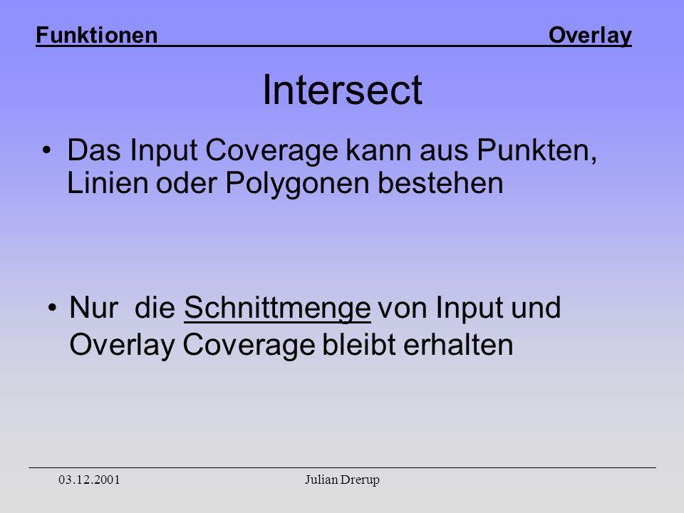 Funktionen Overlay 03.12.2001Julian Drerup Intersect Das Input Coverage kann aus Punkten, Linien oder Polygonen bestehen Nur die Schnittmenge von Input und Overlay Coverage bleibt erhalten