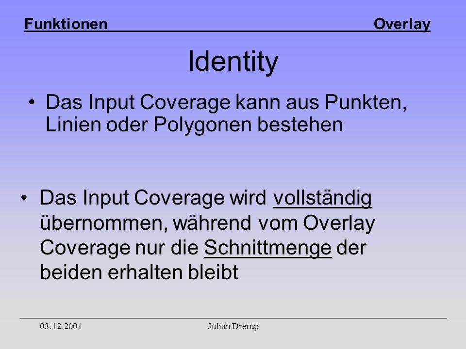 Funktionen Overlay 03.12.2001Julian Drerup Identity Das Input Coverage kann aus Punkten, Linien oder Polygonen bestehen Das Input Coverage wird vollständig übernommen, während vom Overlay Coverage nur die Schnittmenge der beiden erhalten bleibt