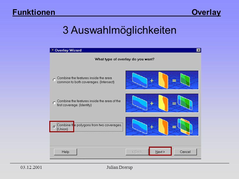 Funktionen Overlay 03.12.2001Julian Drerup 3 Auswahlmöglichkeiten