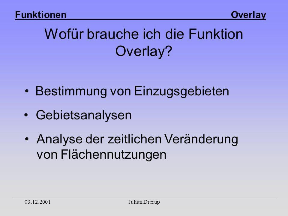 Funktionen Overlay 03.12.2001Julian Drerup Wofür brauche ich die Funktion Overlay.