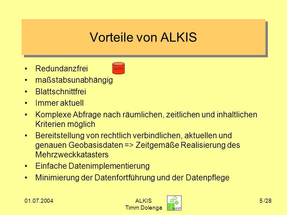 01.07.2004ALKIS Timm Dolenga 26 Fazit zu ALKIS +Erstmalige Einführung eines vollwertigen Geoinformations- systems => effektive Grundlage für Fachinformationssysteme +Einbettung von ALKIS in int.