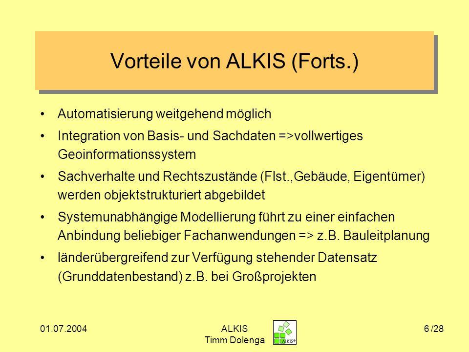 01.07.2004ALKIS Timm Dolenga 7 Einbettung von ALKIS in internationale Normen und Standards Quelle: GeoInfoDok Warum ?.
