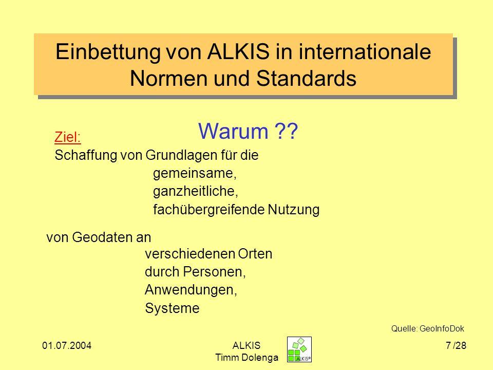 01.07.2004ALKIS Timm Dolenga 28 Quellenangabe www.lverma.nrw.de www.adv-online.de www.ISO/TC211.org www.ikg.uni-bonn.de; Vorlesung GIS I Vorlesung 7 Geometrische und topologische Strukturenwww.ikg.uni-bonn.de Seifert: On the use of ISO Standards in Cadastral Information Systems in Germany GeoInfoDok, Version 3.0 Riecken, Migrationskonzept NÖV 33.Jahrgang Heft 1/2000 Seifert Seifert, Die Modellierung von ALKIS GIS III Seuß, ALKIS aus Sicht der Nutzer /28