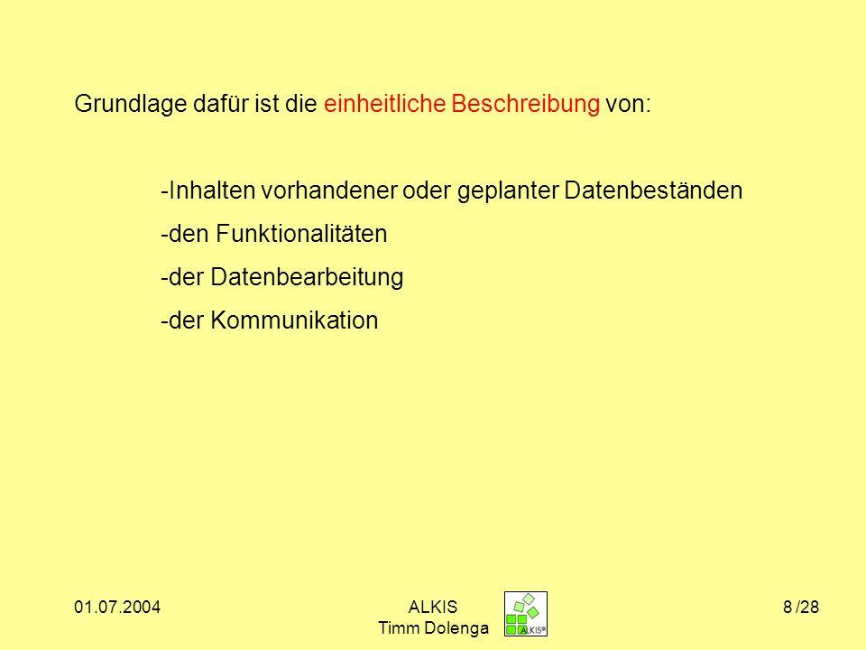 01.07.2004ALKIS Timm Dolenga 9 Einbettung von ALKIS in internationale Normen und Standards Quelle: www.opengis.org www.iso.org Welche ?.