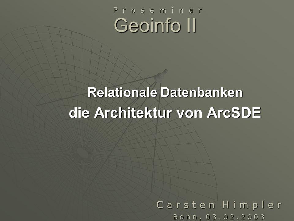 Übersicht Relationale Datenbanken Relationale Datenbanken ArcSDE ArcSDEArchitekturDatenintegritätDatenspeicherung Räumliche Anfragen