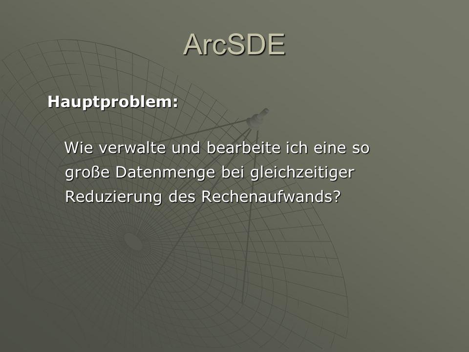 ArcSDE Hauptproblem: Wie verwalte und bearbeite ich eine so große Datenmenge bei gleichzeitiger Reduzierung des Rechenaufwands? Wie verwalte und bearb