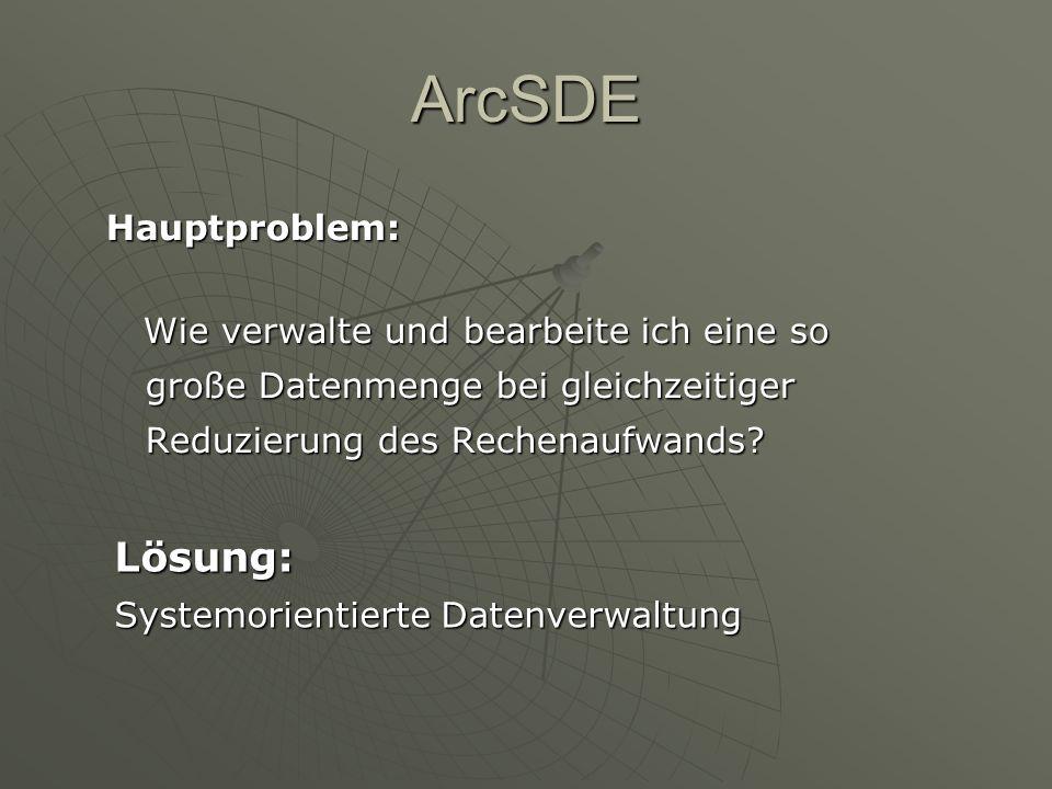 ArcSDE Hauptproblem: Lösung: Systemorientierte Datenverwaltung