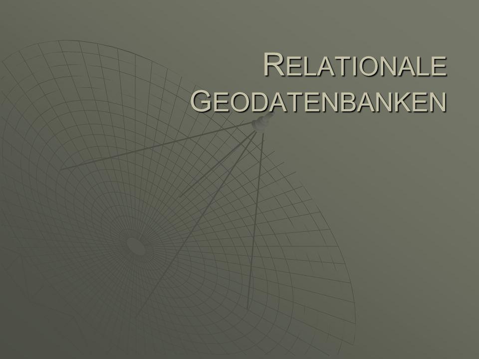 Inhalte und Daten in einer Geodatenbank Geometric networks: Benutzerdefinierte Sammlung von feature classes feature classes bilden ein geometrisches Netzwerk aus Kanten, Knoten und Schritten (turn) GEODATENBANK feature datasets (spatial reference) Objekt classes Feature classes Relationship classes Geom.