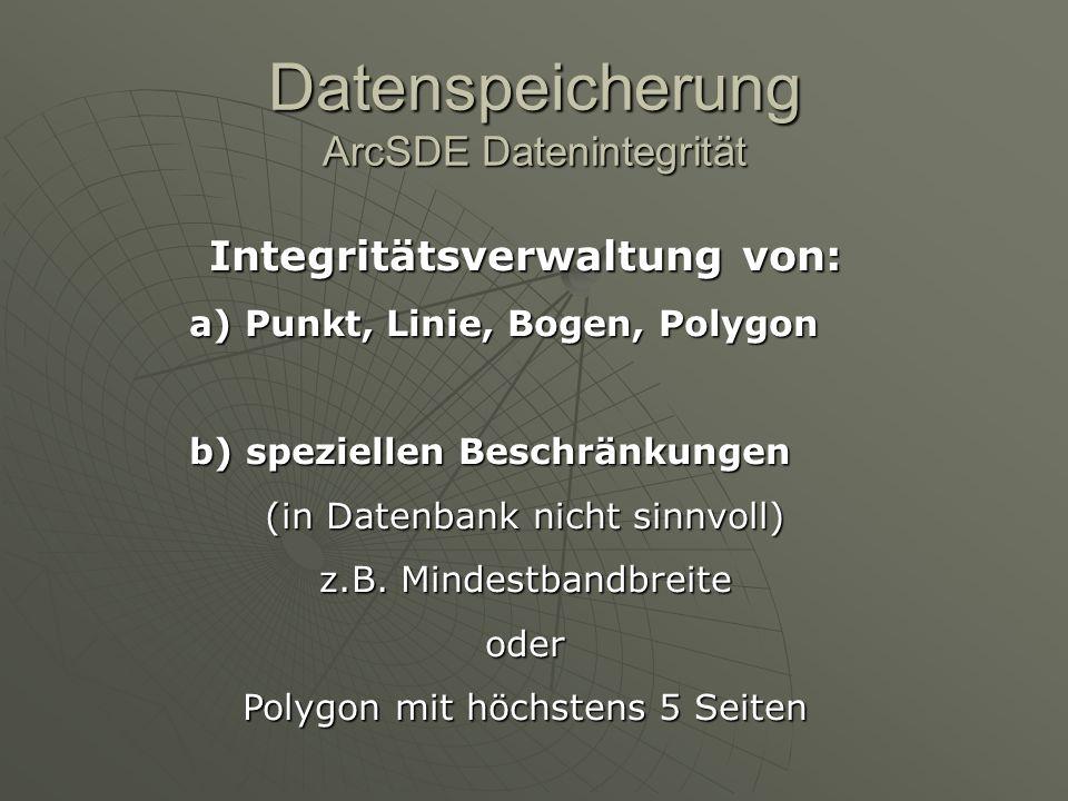 Datenspeicherung ArcSDE Datenintegrität Integritätsverwaltung von: a) Punkt, Linie, Bogen, Polygon b) speziellen Beschränkungen (in Datenbank nicht si