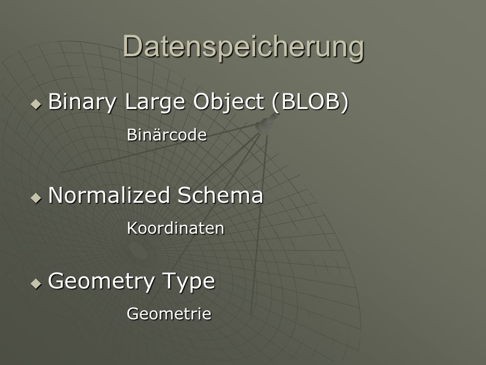 Datenspeicherung Binary Large Object (BLOB) Binary Large Object (BLOB)Binärcode Normalized Schema Normalized SchemaKoordinaten Geometry Type Geometry