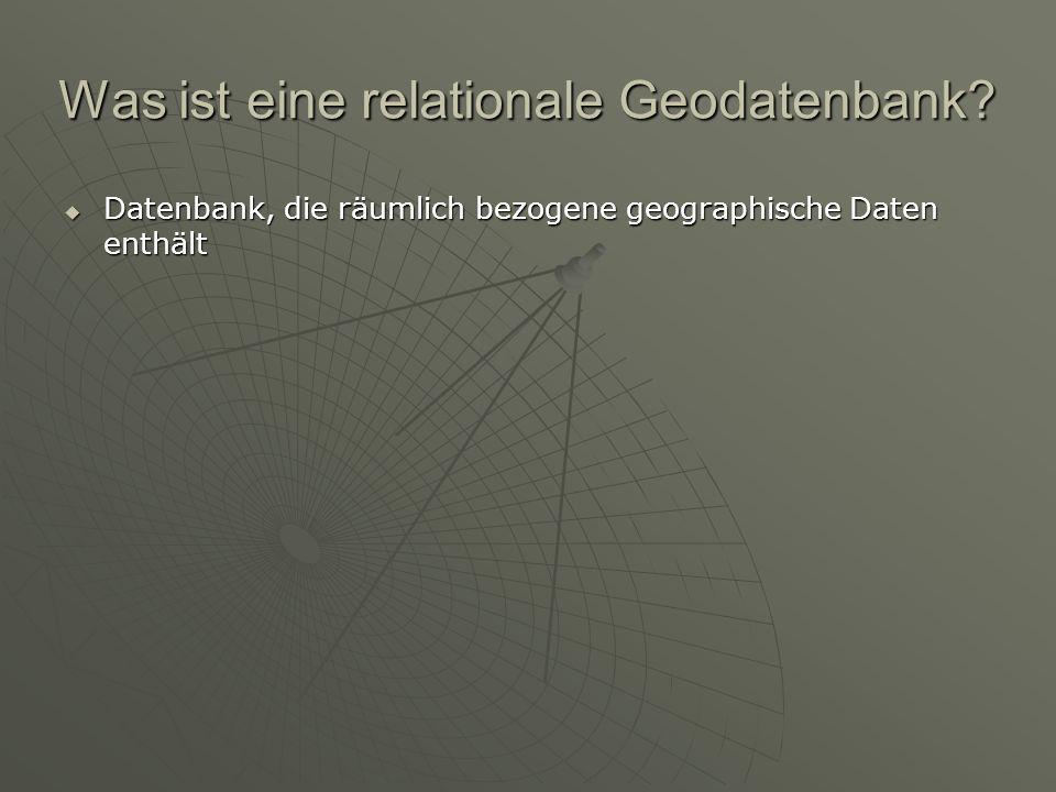 Inhalte und Daten in einer Geodatenbank GEODATENBANK feature datasets (spatial reference) Objekt classes Feature classes Relationship classes Geom.
