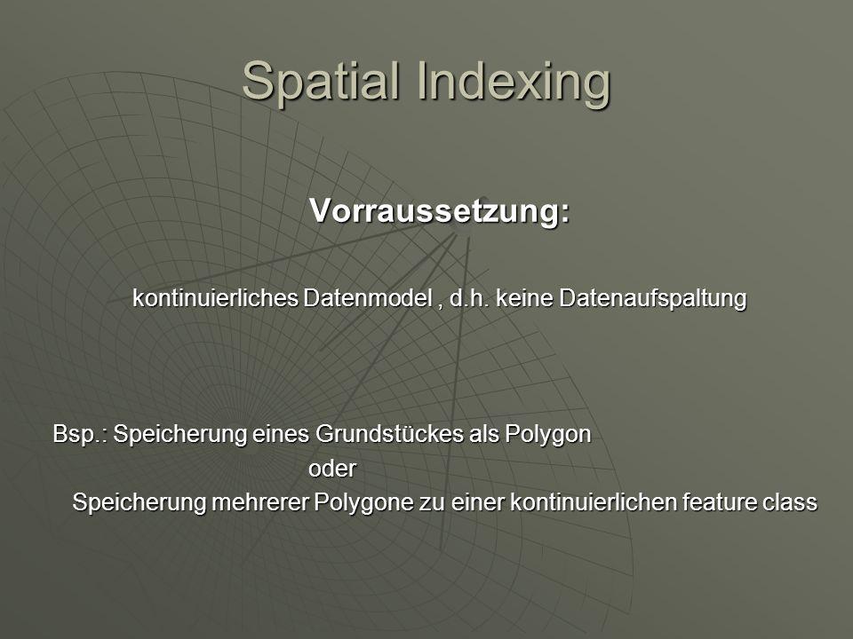 Vorraussetzung: kontinuierliches Datenmodel, d.h. keine Datenaufspaltung Bsp.: Speicherung eines Grundstückes als Polygon oder Speicherung mehrerer Po