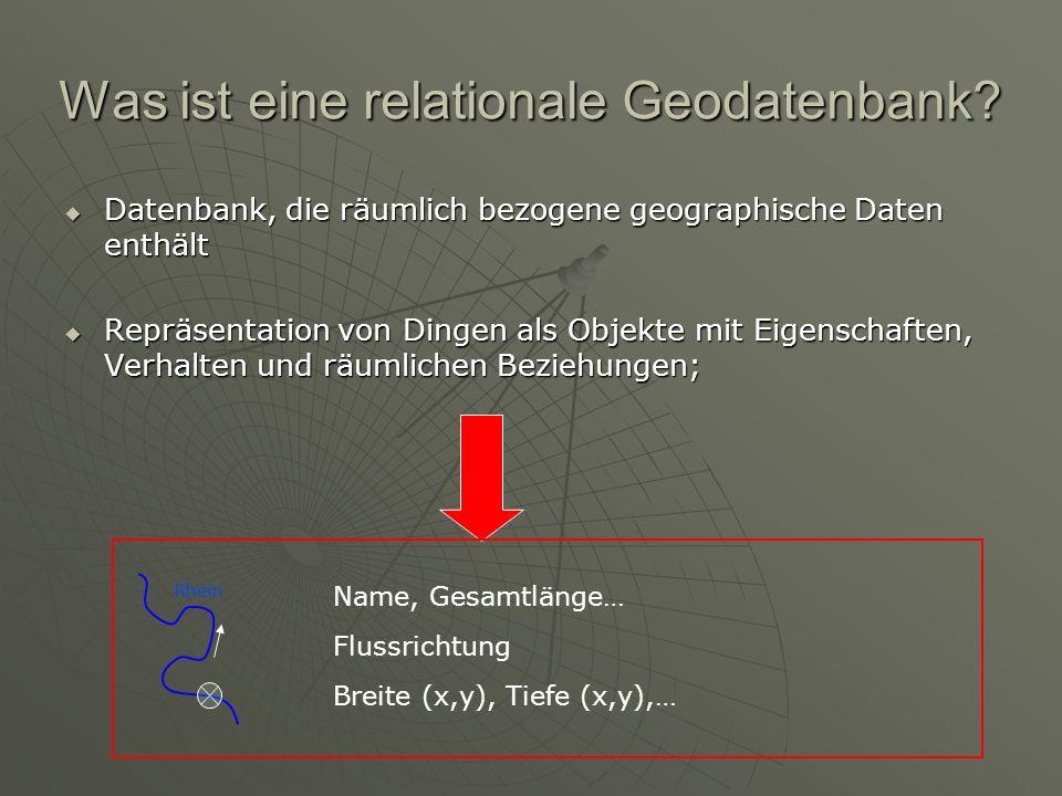 Räumliche Anfragen Eigenschaften räumlicher Objekte: i.d.R.