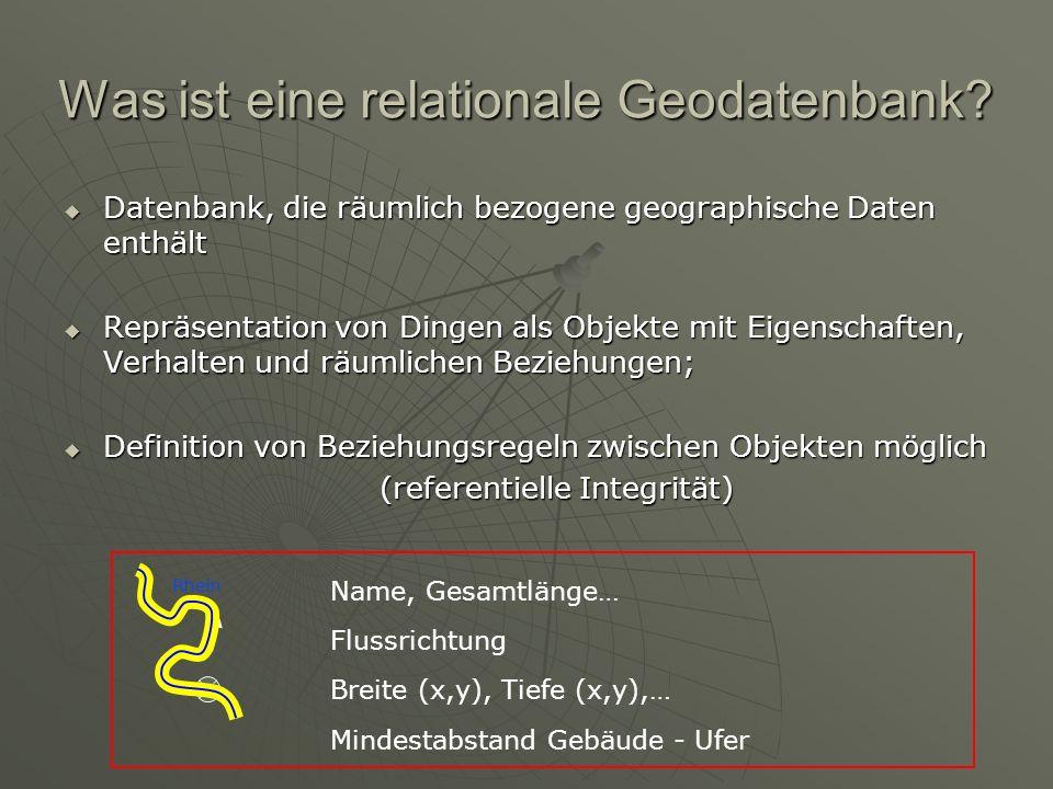 Was ist eine relationale Geodatenbank? Datenbank, die räumlich bezogene geographische Daten enthält Datenbank, die räumlich bezogene geographische Dat