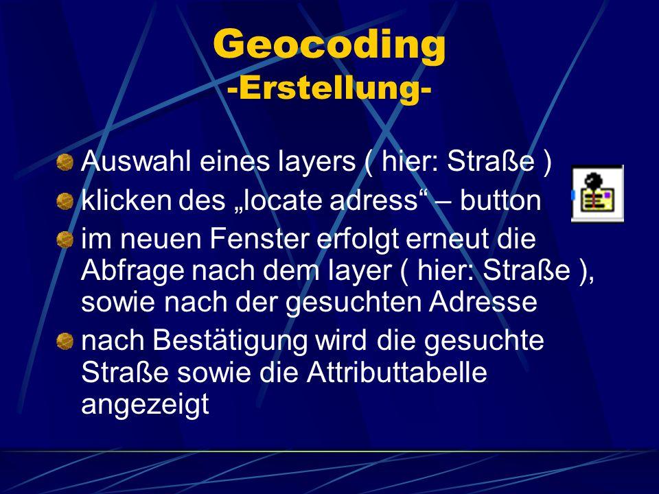 Geocoding -Erstellung- Auswahl eines layers ( hier: Straße ) klicken des locate adress – button im neuen Fenster erfolgt erneut die Abfrage nach dem l
