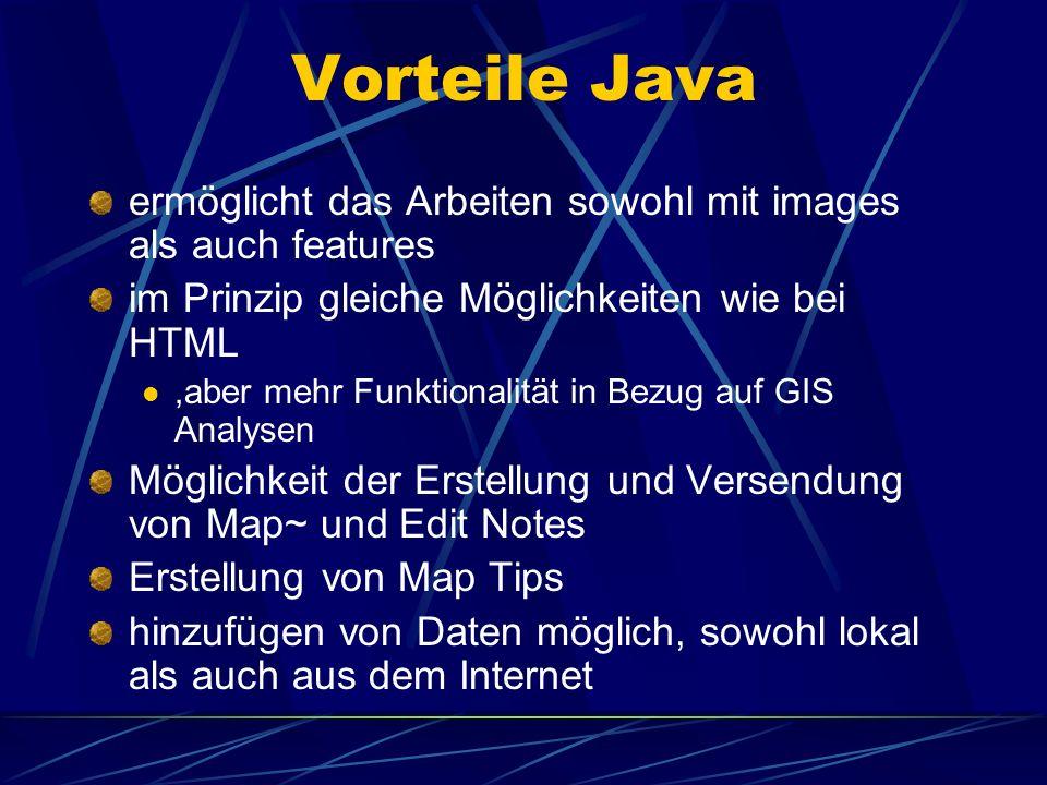 Vorteile Java ermöglicht das Arbeiten sowohl mit images als auch features im Prinzip gleiche Möglichkeiten wie bei HTML,aber mehr Funktionalität in Be