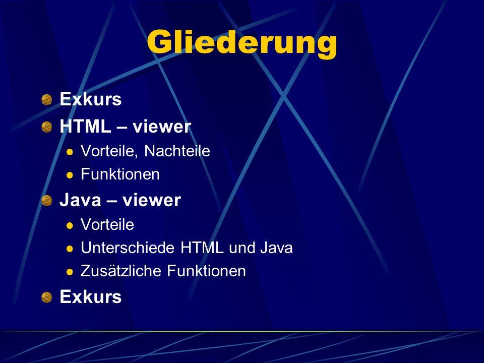Gliederung Exkurs HTML – viewer Vorteile, Nachteile Funktionen Java – viewer Vorteile Unterschiede HTML und Java Zusätzliche Funktionen Exkurs